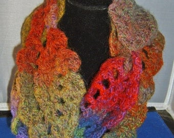 Hand-Crocheted Tropical Colors Wool & Acrylic Pineapple Moebius Scarf
