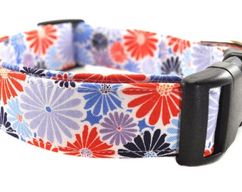 Floral Dog Collar - Starburst in Blue