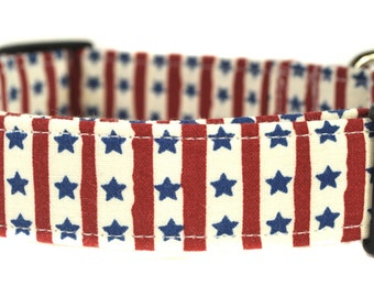 Blue Stars and Red Stripes - Patriotic Dog Collar