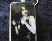 SALE Vintage Beauties from the Ziegfeld Follies, Young Barbara Stanwyck Domino tile pendant. Handcrafted necklace