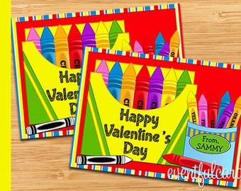 Crayon Printable Valentines Day Cards for Kids