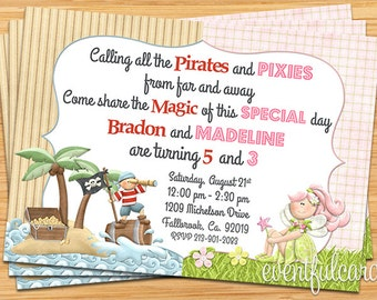 Pirates and Pixies Birthday Party Invitation - Printable
