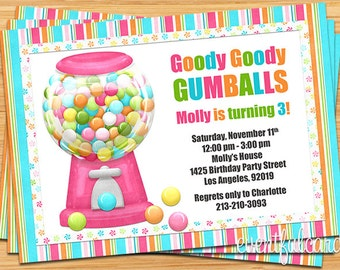 Gumball Candy Birthday Party Invitation - Digital - Printable