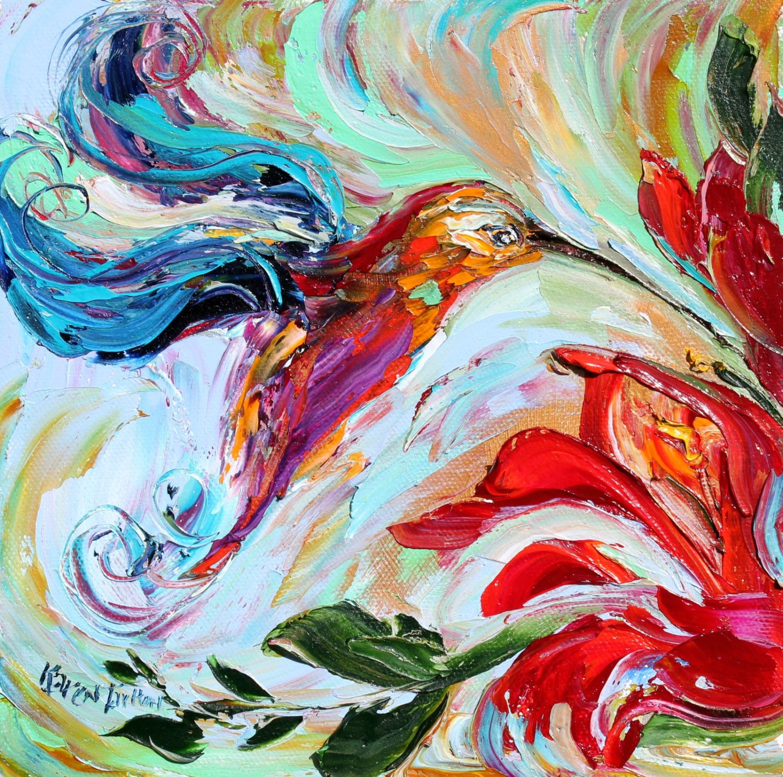 Bird Painting Original impasto abstract Hummingbirds OIL