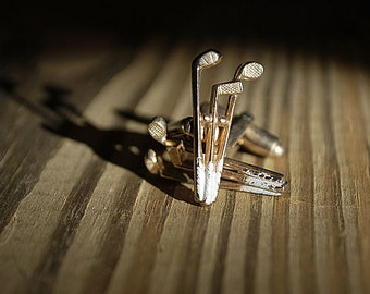 Vintage cuff links gold tone golf clubs