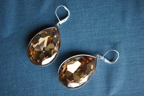Champagne Swarovski Crystal Tear Drop Earrings