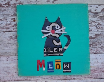 Funky Black Kitty Cat Meow on Turquoise Blue Nursery Girl Boy Toddler Animal Custom License Plate Art Recycled States