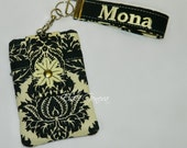 Personalized Black and Ivory Damask Phone Case with Wristlet with iPhone 5 6 Plus Note or Black Tonal Damask & Red