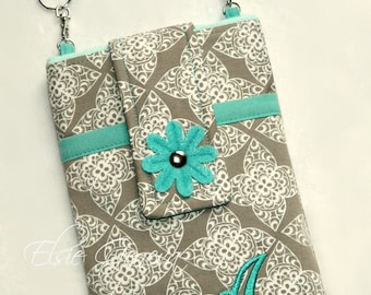 Choose Any Fabric in My Shop OR Orange Lace and Aqua Nook - Kobo - Kindle - Playbook eReader Tablet Case Sleeve with Shoulder Strap