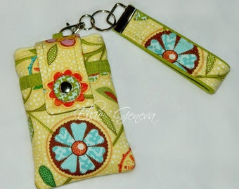 Yellow Green Orange and Aqua Floral Phone Case with Wristlet and Back Zipper Pocket