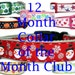 12 Month Holiday Collar of the Month Club, 1 inch wide, christmas, new years, valentine, easter, spring, july, halloween, Thanksgiving, fal