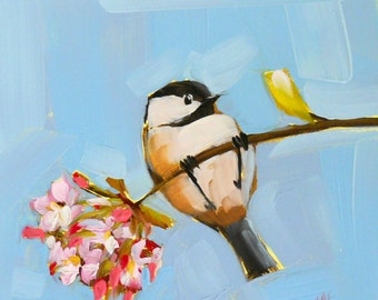 Chickadee and Apple Blossoms Art Print by Angela Moulton 6 x 6 inches prattcreekart