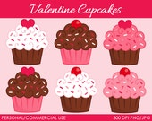 Valentine's Cupcakes 2 Clipart - Digital Clip Art Graphics for Personal or Commercial Use
