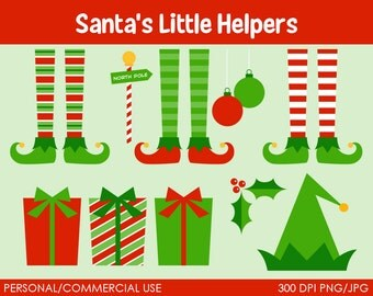 Santa's Little Helpers Elf Clipart - Digital Clip Art Graphics for Personal or Commercial Use