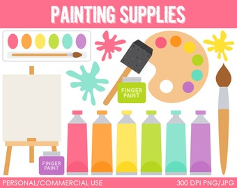 Painting Supplies Clip Art -  Digital Clip Art Graphics for Personal or Commercial Use
