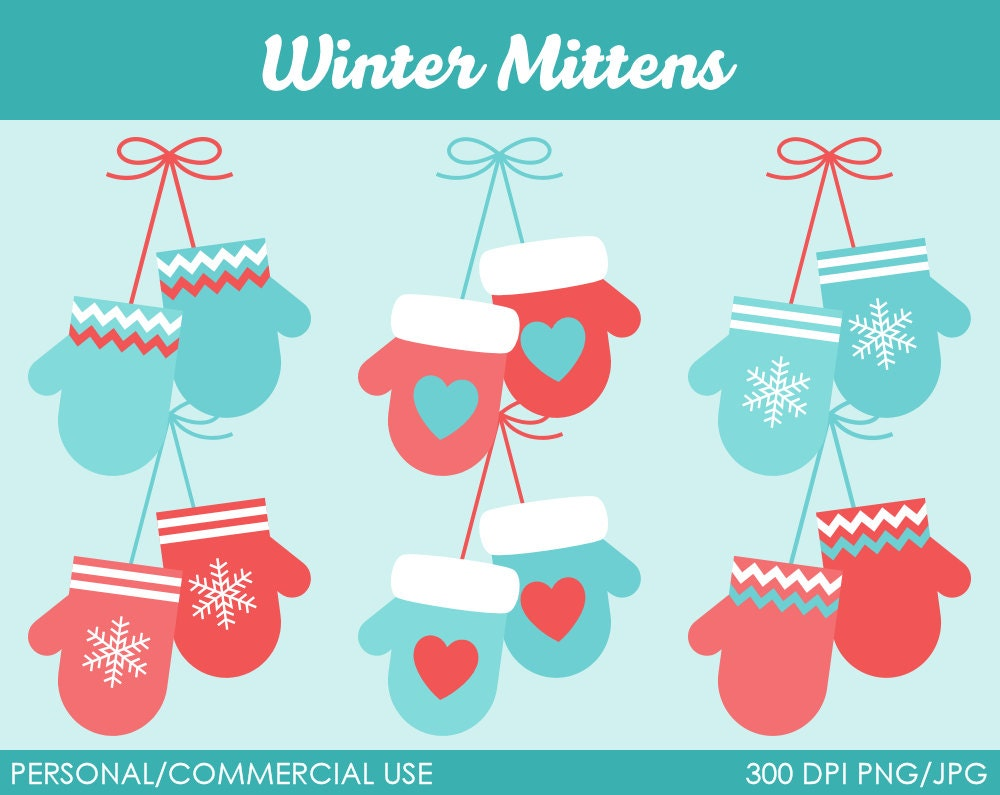 Winter Mittens Clipart Digital Clip Art Graphics by ...
