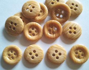 30 pcs wood pattern nylon button 4 hole size 21 mm