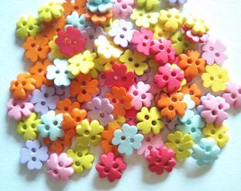 80 pcs Four Clover Flower Buttons 2 Holes - Size 10mm mix pastel color