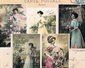 Five Antique French Postcards - Digital Scan - 400 dpi - Edwardian Women Pastels Flowers Dresses Romantic