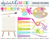 Girly Artist Painting Supplies - Clipart for Personal or Commercial Use