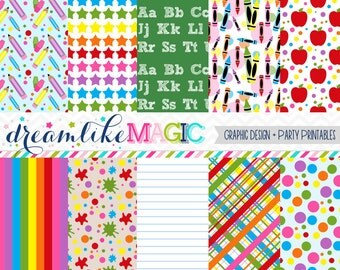 Back to School Prints- Digital Paper Pack for Personal or Commercial Use