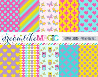 Heart and Hoot Digital Paper Pack for Personal or Commercial Use
