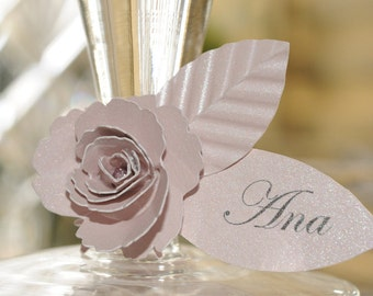 24 Tea Rose Wine Tags /Place Cards /Escort Cards