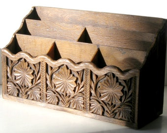 Faux Carved Mail Sorter, Vintage Mail Caddy, Letter Sorter, Faux Carved Wood Organizer, Vintage Letter Sorter, Office Organizer, Bill Holder