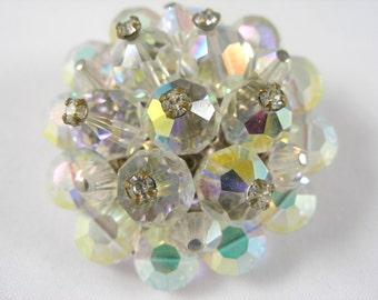 Stunning Vintage Crystal Cluster Bead Brooch