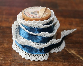 Vintage Lace Trim on Vintage Wooden Spool shiny Navy Blue rayon Ribbon with Ruffled Cream lace edges for sewing or paper crafts