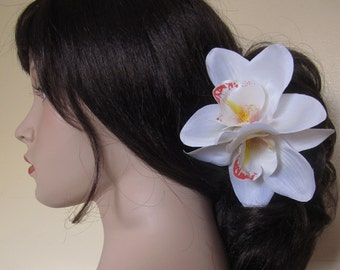 Hawaiian  White - Orange Two Orchids hair flower clip - weddings-