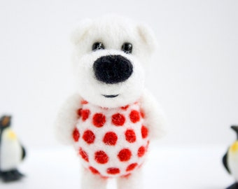White felted pocket bear with red polka dots