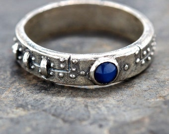 diamond steampunk industrial ring stering silver blue sapphire