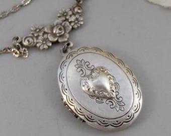 Love Token,Locket,Silver Locket,Heart,Heart Locket,Antique Locket,Floral,Jewelry. Handmade jewelry by valleygirldesigns.