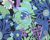 Vintage fabric fat quarter large floral purple blue green