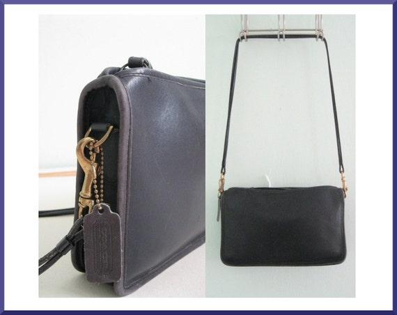 Vintage Air Force Blue Double Strap COACH Zip Top Handbag / Purse / Shoulder Bag