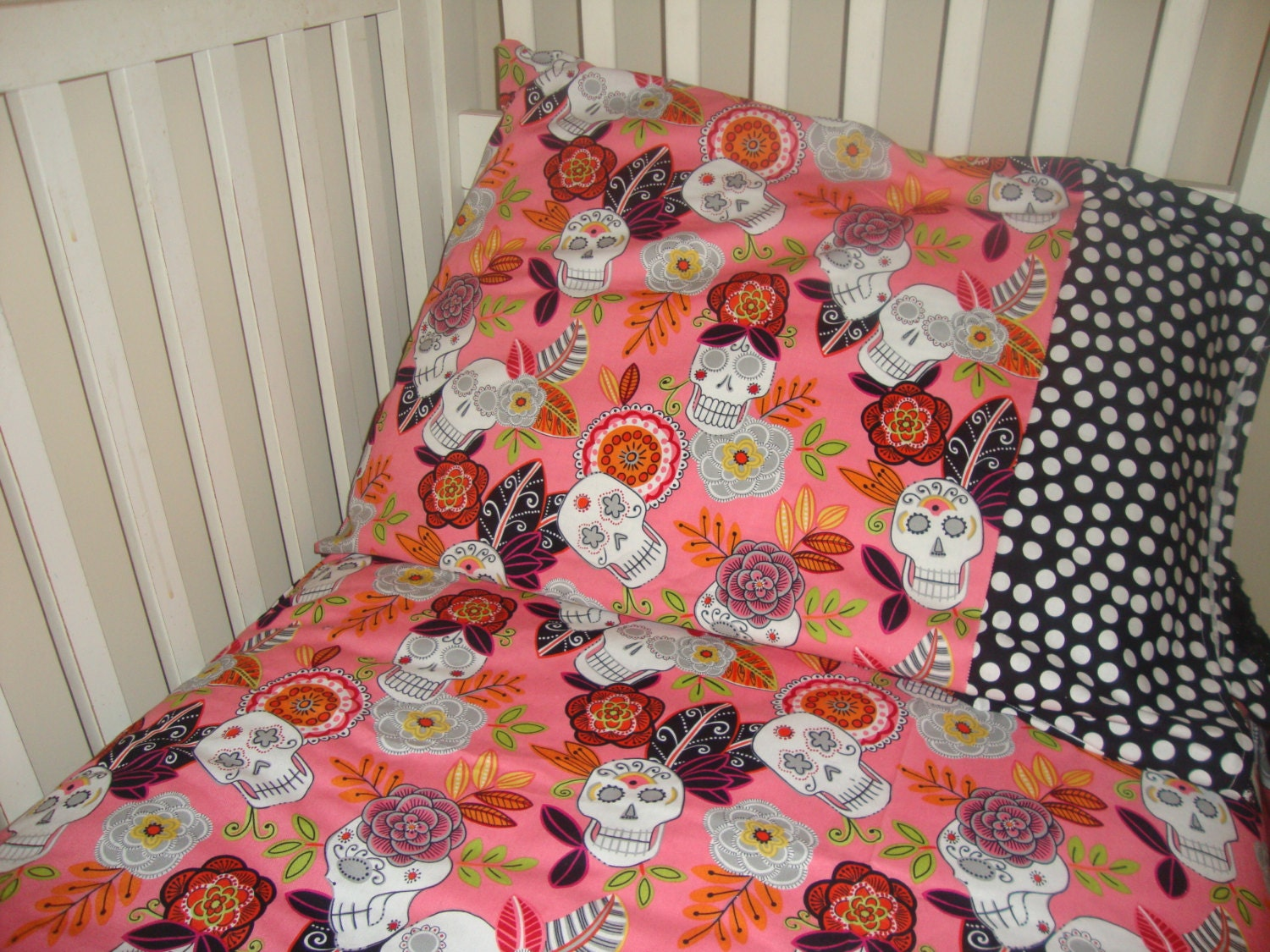 Sugar Skull Custom Baby Toddler Bedding By