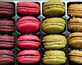 French Macarons Print, Colorful, Kitchen Decor, Pink, Green, Brown, Food Photography, Paris Print, Restaurant Decor