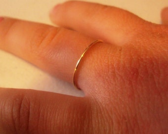 Set of 2 rings, 10kt solid gold, 20 gauge , 0.8mm thick, yellow , rose, white, bridesmaids gifts, mothers day, engagement