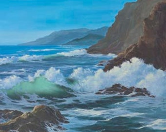 Sunlit Sea Paper Giclee Print Seascape Ocean Pacific Northwest Coast by Carol Thompson