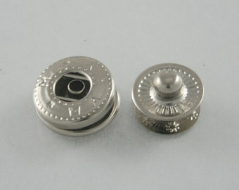 20 sets Round Metal Silver Snaps Buttons Fasteners Rivets Studs Decorative Rivets 12 mm. VT N5 K