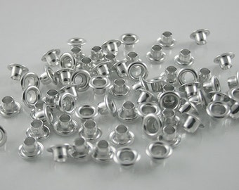 100 pcs Aluminum Silver Tone Eyelet Rivets Studs Decorations Findings 7 mm. KALEY7