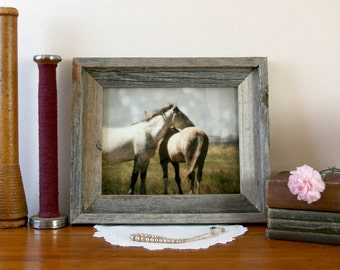 Framed Horse Photograph - rustic barn wood frame horses mustangs country western ready to hang 8x10 photograph in 11x14 frame