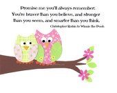 Promise Me You'll Always Remember Kids Wall Art, Children's Decor, Little Girl's Room, Nursery, Owls, Pink and Green, 8x10 Print