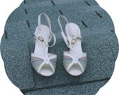 SALE 1/2 price Womens vintage size 7 60's Hush Puppies sandals white with multi color straps
