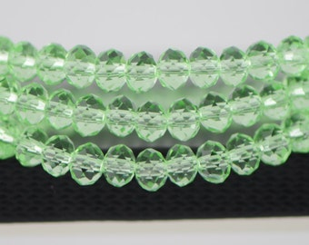 Rondelle Crystal Glass Faceted Beads 4x6mm Apple Green -BZ0677/ 95pcs