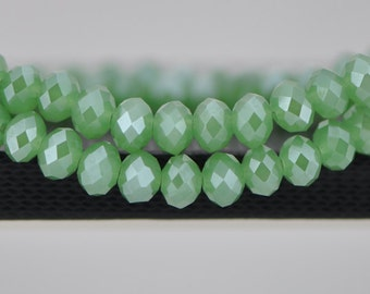 Faceted Rondelle Crystal Glass Beads 6x8mm Green - BZ0894/ 70pcs