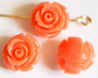 Coral Flower 11mm Rose Cabochon beads Orange- (SF15-1)/ 20pcs