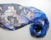 Silk scarf hand dyed on natural chiffon silks - Butterfly dreams - 18x72