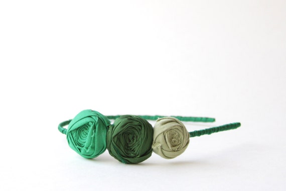 SALE Rosette Headband Woodland Wanders Green Rosette Trio Flower Ribbon Wrapped Ready to Ship Hostess Gift